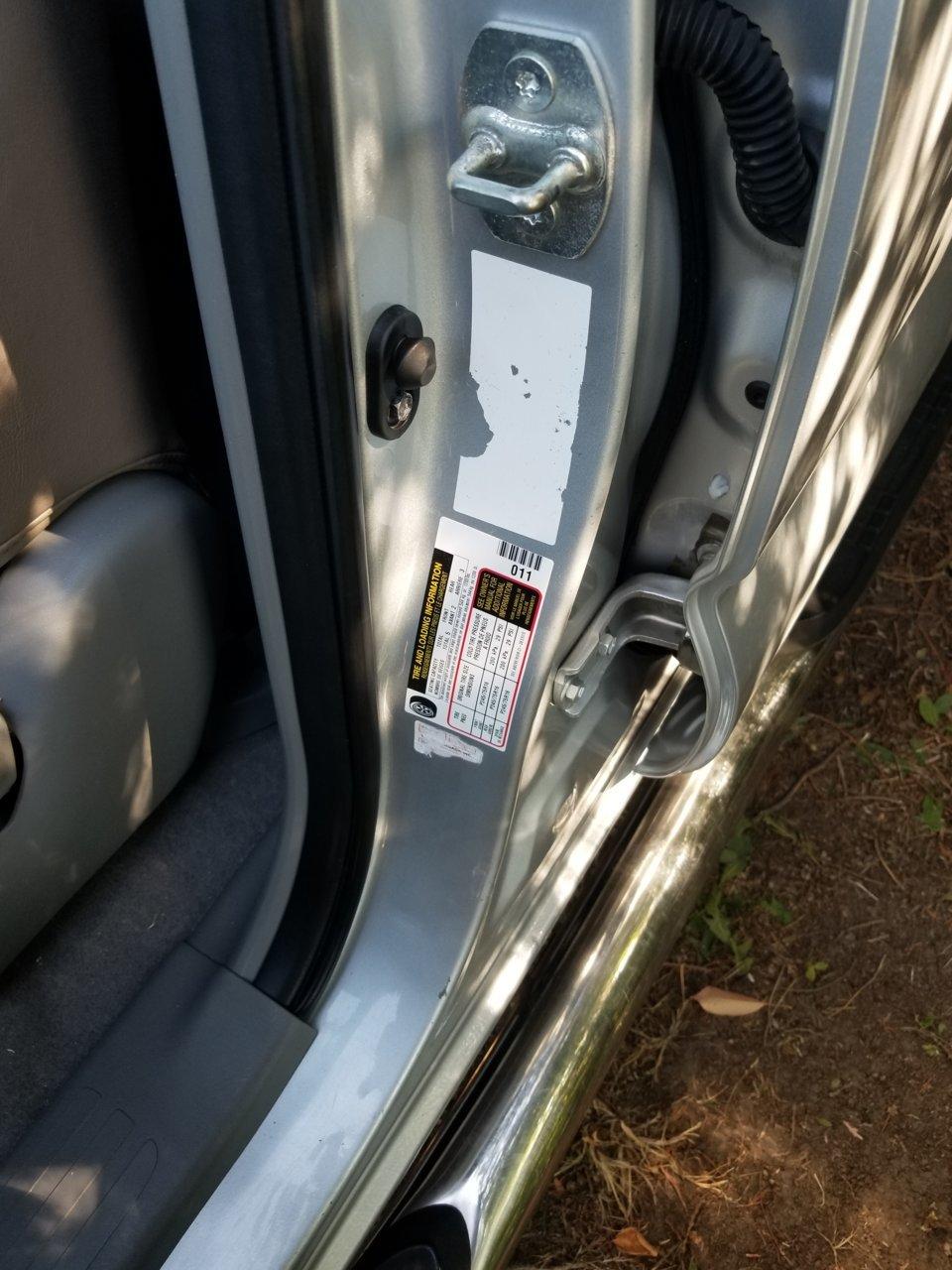Door jamb vin sticker missing | Tacoma World
