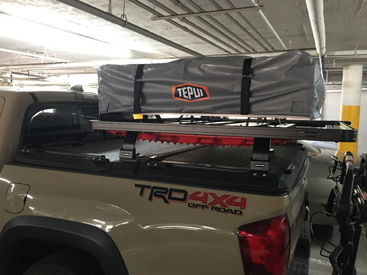 DiamondBack HD Cover opens with bed rack on top - Maxtrax.jpg
