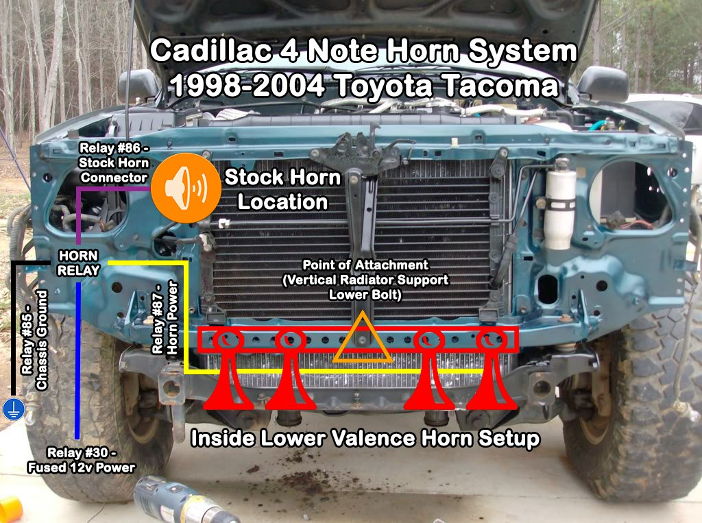 toyota tacoma horn wiring are you tired of your wimpy stock horn  put in 4 cadillac horns  are you tired of your wimpy stock horn