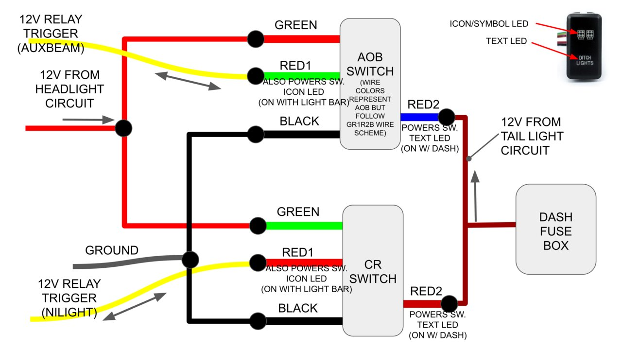 [TBQL_4184]  Light Bar Switch Wiring Guide With Pictures! - Cali Raised & Air On Board  Switches | Tacoma World | Led Highbeam Light Bar Wiring Diagram |  | Tacoma World