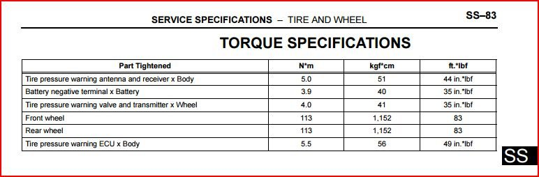 Toyota Service Manual Tire And Wheel Torque Specifications Jpg