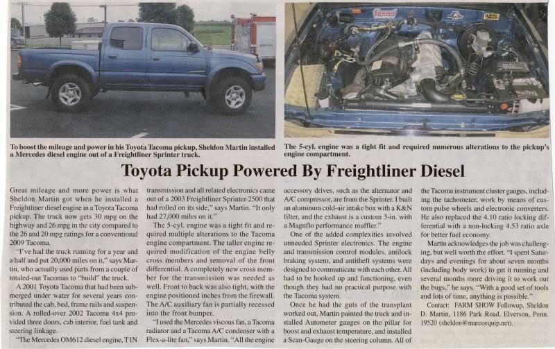 Tacoma Diesel Swap (VW or otherwise)? | Tacoma World