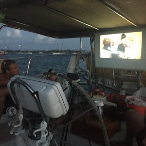 We watch movies on the boat