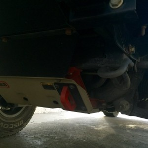 ARB skids for IFS with tow hook bolted on to crossmember