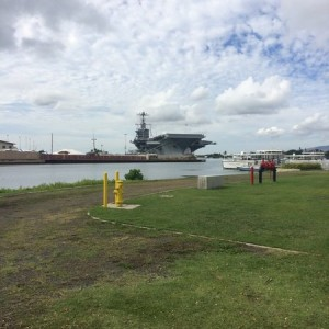 Carrier in port for 75th anniversary of the Pearl Harbor attack.