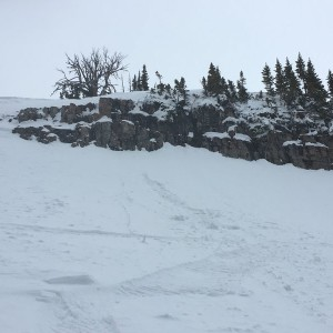 On marks daily dose of skiing: I hiked 50 minutes and 1600 vertical feet to hit this 20' cliff line and ride some crusty powder at the bottom. Spot th