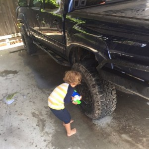 They took away our hose, so we wash the truck with super soakers