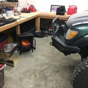 Cozy fake fire in the garage