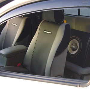 "Tacoma Seat Covers and the 10"" Infiniti Sub in the back:)"