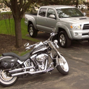08 Double Cab and my 03 Harley Fat Boy