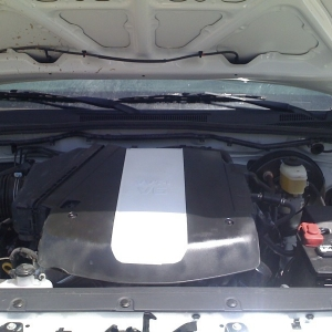 the engine cover on