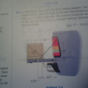 My homework problem. Calculates the tension of the tailgate cables caused b