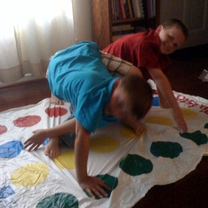 The boys playing twister tonight!