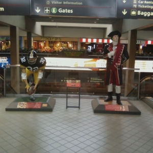 At the airport, Franko Harris and George Washington - equally important in