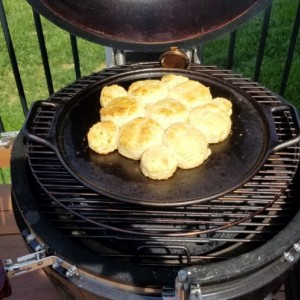 Biscuits on the grill. Simply amazing and doesn't heat up the house on a really hot day.