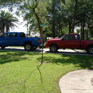 Shot of both of my trucks that I had before I sold the Ranger