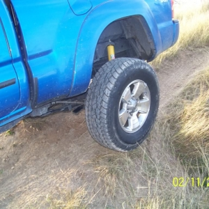 Wheel off of the ground