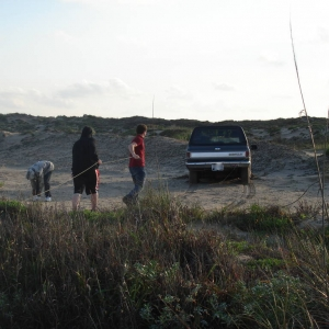 Pulling the Blazer out of the dunes 1