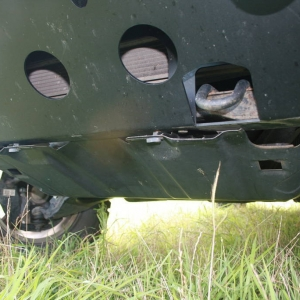 Modified stock skidplate to fit