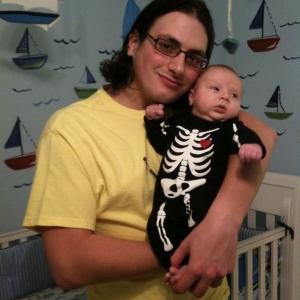My son's Halloween costume. Glows in the dark.