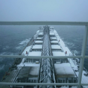 Ship in the snow