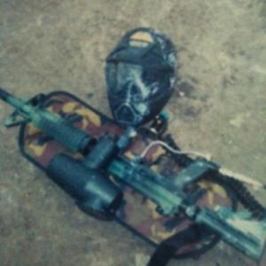 Rhino-lined Paintball gun with custom camo pattern