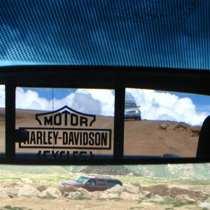 Rear view mirror/back wondow view Pikes Peak