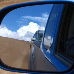 Rear mirror view ikes Peak