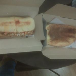 NOM NOM NOM!!! Carb day!! Dominoes sandwhich and cinammon stick
