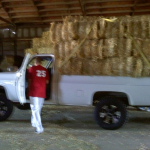30 bales in the back of an old c10 1 ton