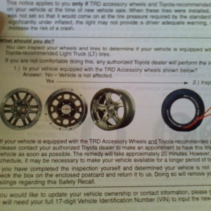 Recall on TRD accessory wheels for the tire pressure monitoring system. Onl