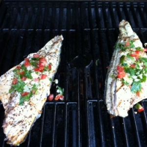Grilled up some red fish that I just caught about 30 mins ago