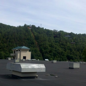 1/2 the roof of where I work with mountains over Gatlinburg.
