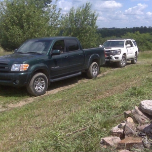 Dads Tundra and Bros 4Runner.