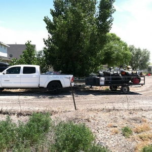 Another angle with loaded bed and trailer.