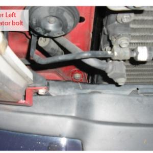 Lower Left radiator bolt