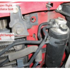 Lower right radiator bolt