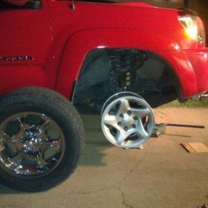 Wheel change process/ progress