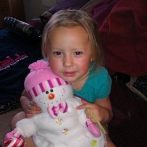 Ilana enjoying her snowman