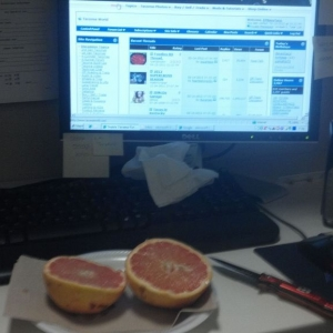 Morning grapefruit and TW. :)