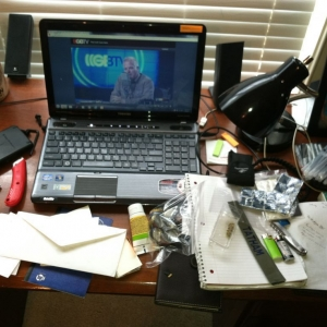 I made a mess of my desk! Cleaning it all out because spring semester is OV