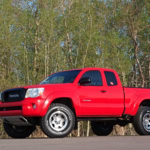 Red tacoma, BFG all-terrain, Ultra wheels, Toytech, Satoshi
