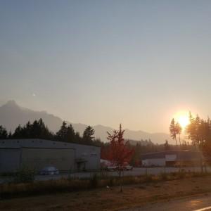 Forest Fire Drive Home Moon & Sun