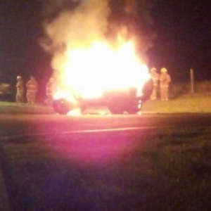 Cousins 3 week old jeep with new lift, tires and wheels. Up in flames last