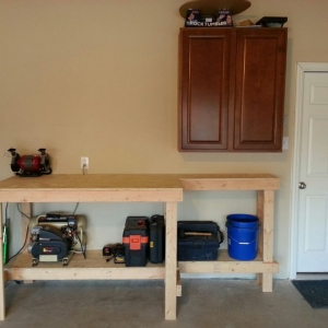 My work bench. Just a start to my garage workshop. Planning to put some peg