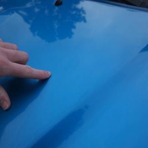 Tacoma sport hood scoop speedway blue scuff