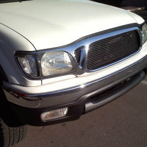 Flat black grill on the truck
