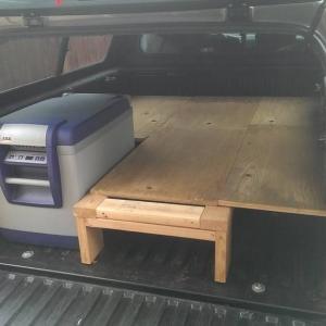 Sleeping platform with fridge