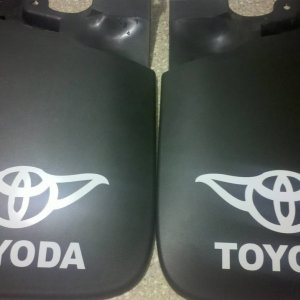 Toyoda decals on front mud flaps