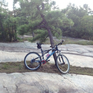 My bike on top of big rock @ dupont state forest